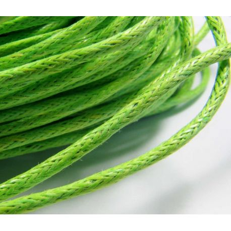 Waxed cotton cord, green 1.5 mm