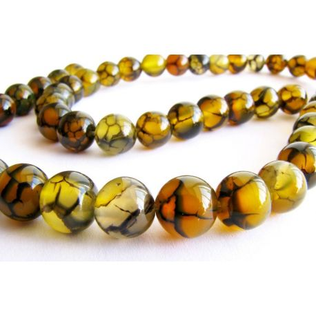 Agate beads yellow - black round shape 8mm