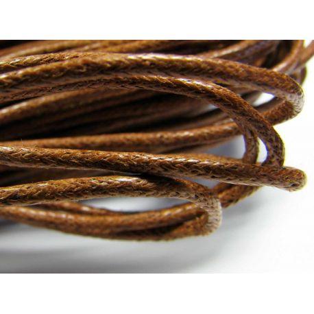 Vaškuota medvilninė virvelė, rudos spalvos 1,5 mm