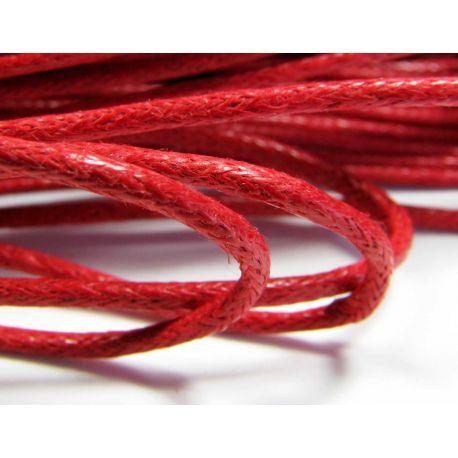 Vaškuota medvilninė virvelė, tamsiai raudonos spalvos 1,5 mm
