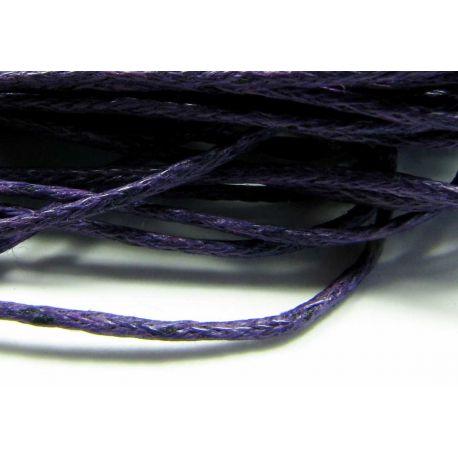 Vaškuota medvilninė virvelė, violetinės spalvos 1 mm