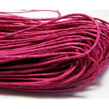 Vaškuota medvilninė virvelė, ryškiai rožinės spalvos 1.00 mm