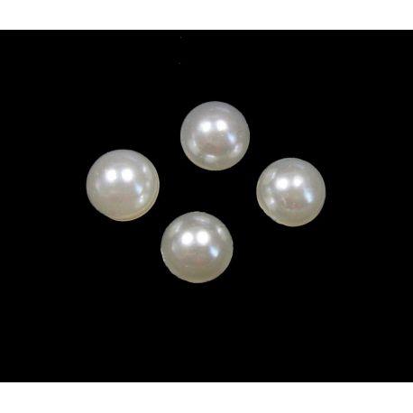 Acrylic cabochon white round shape 6 mm