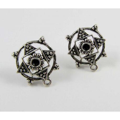 Earrings hooks, aged silver, size 18x15 mm