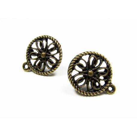 Earrings earrings aged bronze size 17x13 mm