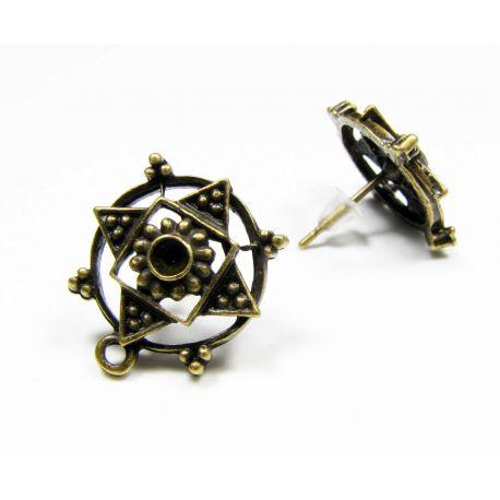 Earrings hooks, aged bronze, size 18x15 mm