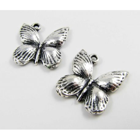 Butterfly pendant, aged silver, size 18x17 mm