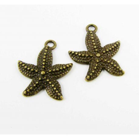 Star pendant, aged bronze, 22x18 mm