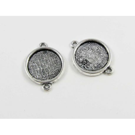 Distributor - frame for cabochon, aged silver color 2 loops, 23x17 mm