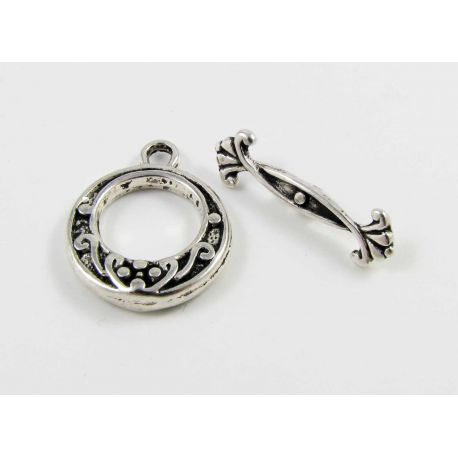 Rod clasp, aged silver, 19x15 mm
