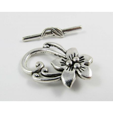 Rod clasp, aged silver, 30x20 mm
