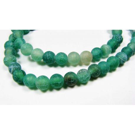 Agate beads, greenpalvos, round shape 6 mm