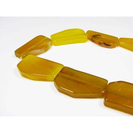 Agato karoliukai, geltonos spalvos, stačiakampio formos 32x20x5 mm