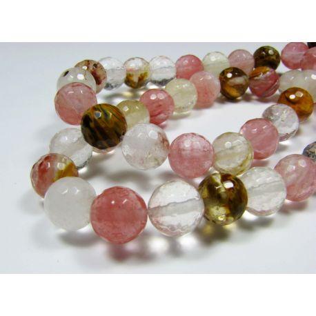 Turmalīna kvarca pērles rozā-baltā brūnā caurspīdīgā 128 malā apaļa forma 8 mm