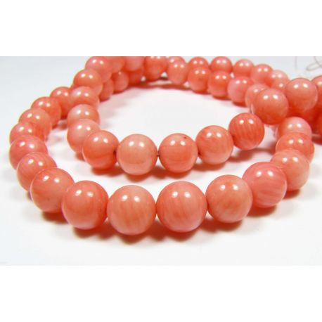 Coral beads, pink hidden colors, round 6 mm