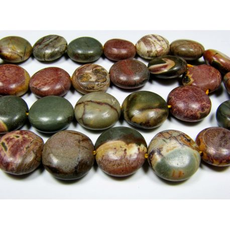 Picasso Jaspio beads brown green cherry coin shape 12 mm