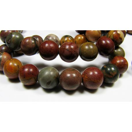 Picasso Jaspio beads brown green cherry color, round shape 8 mm