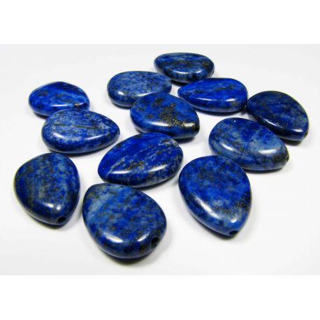 Lapis Lazuli karoliukai, mėlynos spalvos, lašo formos vertikalaus vėrimo 18x13 mm