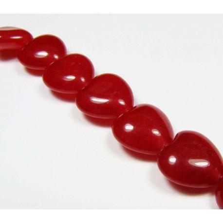 Rubino karoliukai raudonos spalvos širdelės formos 10mm