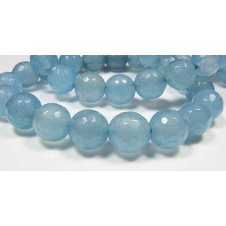 Aquamarine beads azure round shape ribbed 9-10 mm