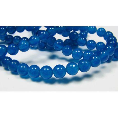 Nefrito karoliukai, mėlynos spalvos apvalios formos, 4 mm