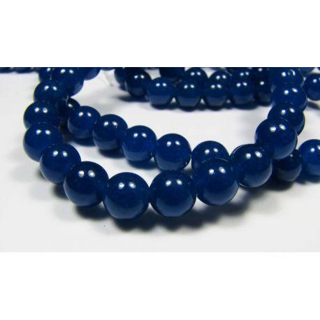 Nefrito karoliukai, mėlynos spalvos apvalios formos, 6 mm