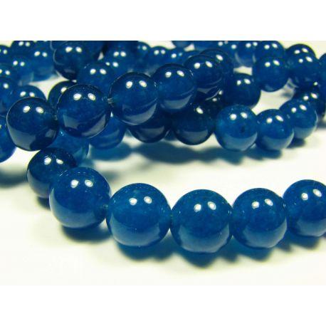 Nefrito karoliukai, mėlynos spalvos apvalios formos, 8 mm