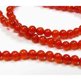 Karneolio karoliukai, raudonos spalvos, apvalios formos 2 mm