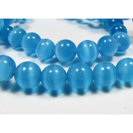 Cat eye beads blue round shape 6-7 mm