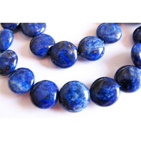 Lapis Lazuli karoliukai tamsiai mėlynos spalvos monetos formos 10mm