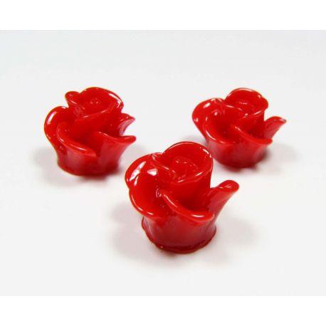 """Kamėja """"Rožytė"""" skirta papuošalų gamybai raudonos spalvos 14x13 mm"""
