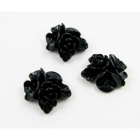 Kamėja 3 gėlytės skirta papuošalų gamybai juodos spalvos 16x16 mm