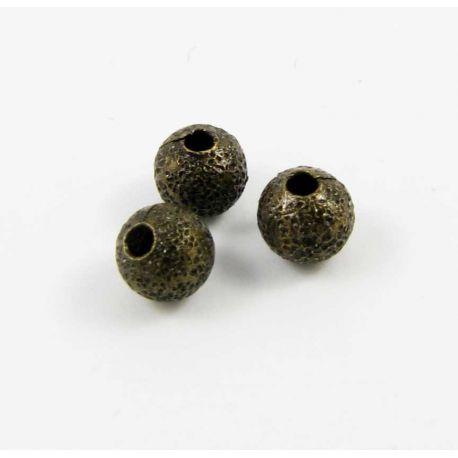 Intarpas skirtas papuošalų gamybai sendintos bronzinės spalvos apvalios formos 4 mm