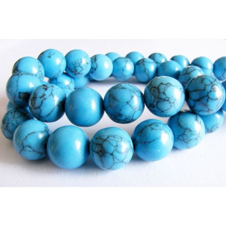 Synthetic turquoise beads of blue color with black stripes round shape 10mm