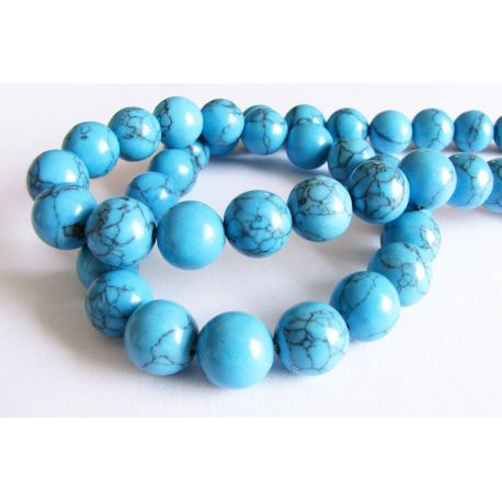 Sintetinio turkio karoliukų gija mėlynos spalvos su juodomis juostelėmis apvalios formos 10mm gijoje 40vnt