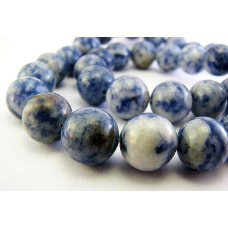 Lapis Lazuli karoliukai mėlynos baltos spalvos apvalios formos 8mm