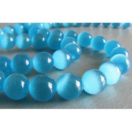 Cat Eye Beads Blue Round Shape 8mm