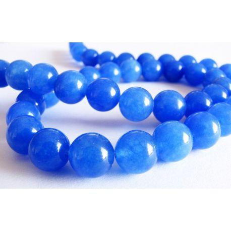 Safīra krelles zilas apaļas formas 8mm