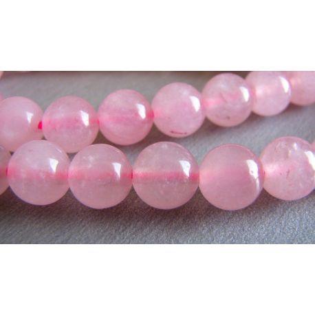 Rožinio kvarco karoliukai rožinės spalvos skaidrūs apvalios formos 8mm