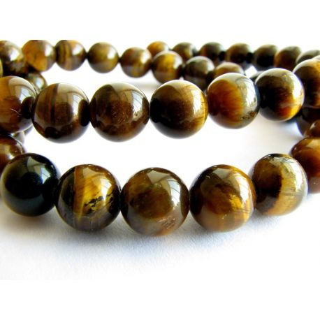 Tiger eye beads brown - black round shape 4mm