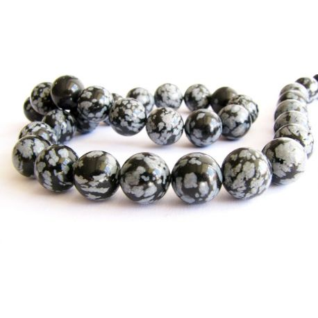 Snow obsidian beads black - gray round shape 8mm