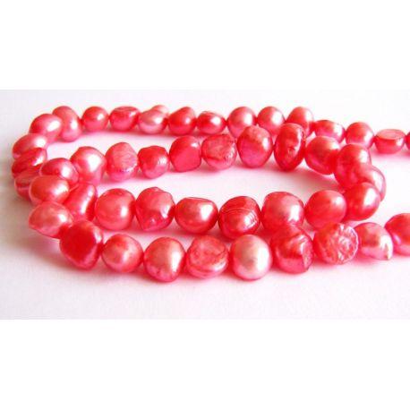 Freshwater pearls bright pink irregular round shape 6x7mm