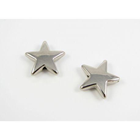 Akriliniai karoliukai žvaigždutė sidabro spalvos 16 mm