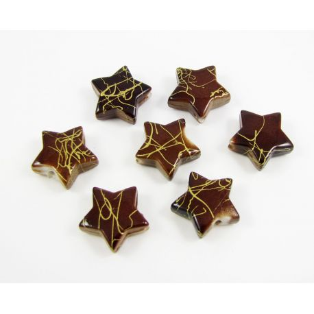 Acrylic beads sprocket brown with gold stripes 13 mm