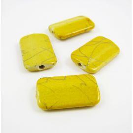 Akriliniai karoliukai geltonos spalvos su pilkomis juostelėmis 18x10 mm