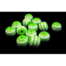 Acrylic beads white-green color 8 mm