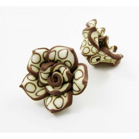 "Fimo bead ""Flower"" brown 25x14 mm"