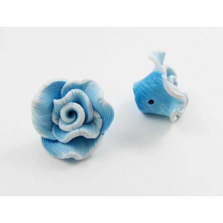 "Fimo bead ""Flower"" azure 22x12 mm"