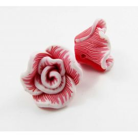"""Fimo bead """"Flower"""" red 22x12 mm"""