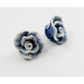 """Fimo karoliukas """"Gėlytė"""" mėlynos spalvos 22x12 mm"""